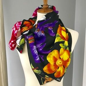 Echo 100% silk vibrant and colorful floral scarf